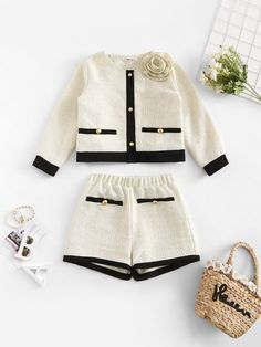 Baby Outfits, Mode Outfits, Short Outfits, Luxury Baby Clothes, Designer Baby Clothes, Cute Baby Clothes, 2 Piece Outfits, Two Piece Outfit, Baby Girl Fashion