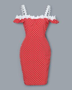 Lace Applique Off Shoulder Dots Print Dress Women Cold Shoulder Polka Dot Red Summer Dress 2019 Slim Fit Casual Party Vestidos Beautiful Casual Dresses, Elegant Dresses Classy, Classy Dress, Hot Outfits, Classy Outfits, Trajes Pin Up, Mini Frock, Red Summer Dresses, Muslim Women Fashion