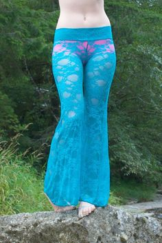 sexy dark teal lace boho beach resort festival burning man gypsy hippie flare leg bell bottom pants with shorts liner (optional) Preteen Girls Fashion, Girl Fashion, Womens Fashion, Bell Bottom Pants, Bell Bottoms, Sexy Outfits, Fashion Outfits, Culture Clothing, Lace Pants