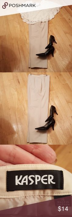 Dress Pants Tailored lined dress slacks. Polyester and 6% spandex.  Great work slacks. Size 16, fit true to size. Khaki color. This is a misses, not women's fit. Kasper Pants Trousers