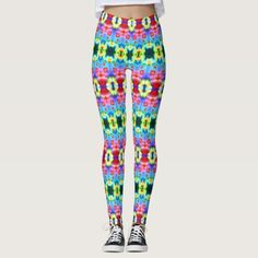 """These leggings will give you an entirely new exotic, exciting look. Similar to the currently trending """"Ikat"""" style, this design blends abstract art, technology and psychedelia in a completely unique fashion. The origination image is from my Kinetic Collage Sweet Dreams series of light show photos. Over 3000 products at my Zazzle online store. Open 24/7  World wide! Custom one-of-a-kind items shipped to your door. This design is only…"""
