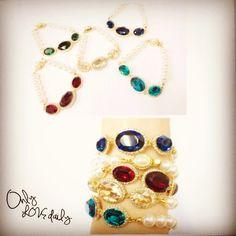 「パール&ビジュースワロフスキーブレスレット #accessory #bracelet #bijou #old #onlylovedaily」
