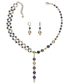 Triple-Strand Necklace and Earring Set with Glass Beads