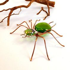 Handmade Large Green Spider Buster B by SpiderwoodHollow on Etsy, $25.00