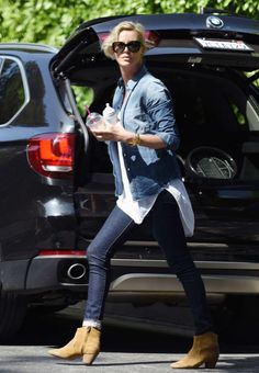 Charlize Theron in Jeans out in Beverly Hills