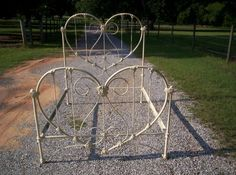 """Beautiful """"Heart Shaped """" Antique Iron Bed . Happy Valentines Day"""