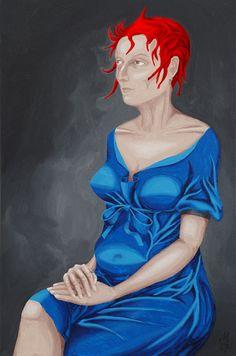 Martin Karcher: Calamity Jane 15 (Portrait); Acryl on canvas, 40 x 60 cm, 2017
