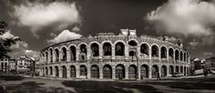 "North Italy: Verona - Back by Start - The Arena - That's all for now from Citta Verona - Verona - Back by Start - The Arena - That's all for now from Citta Verona.  Thank you very much for joining my walk through Città Verona and for your kind feedbacks!  Black & White version of my start picture.  See also my gallery ""North Italy"". -  My own pictures from strolling through the cities Verona and Bergamo in Fall 2015."