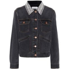 Isabel Marant, Étoile Christa Embellished Denim Jacket (€470) ❤ liked on Polyvore featuring outerwear, jackets, grey, grey denim jacket, gray denim jacket, gray jean jacket, grey jacket and grey jean jacket