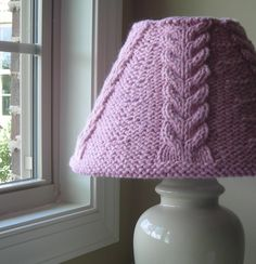 Knitting Pattern PDF - Cabled Lampshade Covers for Target Shades in two sizes - lighting - lampshade cozy. by lavenderhillknits via Etsy.