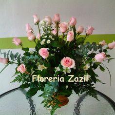 2 docenas de rosas rosas #floreriazazil #cancunflowershop #cancunflowers