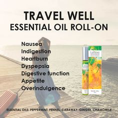 Travel Well Essential Oil Roll-On - assists in managing nausea, indigestion, heartburn, dyspepsia, digestive function, appetite, overindulgence and more.