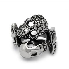 Vintage Double Skull Stainless Steel Ring
