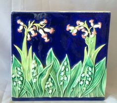 George Jones Cobalt Majolica Lily Of The Valley 8""