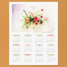 Watercolor 2014 Calendar: This watercolor floral calendar is perfect for the girlie girl. Source: Love vs. Design
