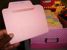 What a great way to store your embossing folders so you can see exactly what they look like!