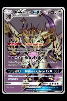 Digimon appmon Hadesmon carte pokémon gx Fake Pokemon Cards, Pokemon Tcg Cards, Pokemon Trading Card, Digimon, Pokemon Party Decorations, Pikachu Memes, Papercraft Pokemon, Pokemon Heart Gold, Yugi