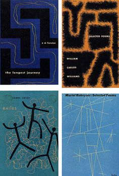 Book jackets for New Directions Classics series: (clockwise starting from top left) The Longest Journey, 1946; Selected Poems of William Carlos Williams, 1950; Muriel Rukeyser, Selected Poems, 1949; and Exiles, 1945.