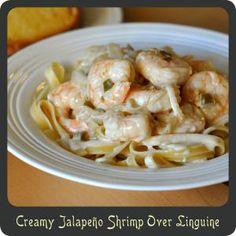 Creamy Jalapeño Shrimp Over Linguine