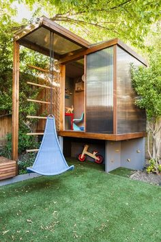 The Study House by Studio 30 Architects - At the end of the garden there is a playhouse, designed by Bredenkamp for his son as a miniature version of the main house. It features a wooden frame that supports a cantilevered polycarbonate box.