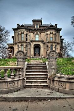 Abandoned at 703 Hall St.,Saint Joseph, Buchanan County, Missouri (Adam N. Schuster House) Oh my gosh! Someone actually abandoned this beauty? It's gorgeous! If this is the exterior, imagine the interior! Abandoned Buildings, Abandoned Mansions, Old Buildings, Abandoned Places, Abandoned Castles, Abandoned Mansion For Sale, Old Abandoned Houses, Beautiful Architecture, Beautiful Buildings