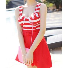 Cute Sweetheart Neckline Striped Padded One-Piece Swimwear For Women, RED, 2XL in Swimwear | DressLily.com