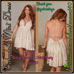 Babydoll Mini Dress Babydoll Mini Dress  Dreamy semi-sheer gauzy babydoll mini dress. Features a triangle top, halter neck and back ties, and mesh lining detail along hi-low hemline. Add your favorite bralette under and pair with your favorite Summer sandals especially your gladiators or tie up sandals and  have eyes all on you this gorgeous babydoll dress that will surely turn heads. Dresses Asymmetrical