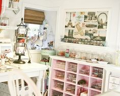 The Cottage Market: Fun Crafting Spaces!  I like the shelves for the plastic bins of stuff.