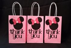 Minnie Mouse party favor thank you bag by MrsCustomCreations on Etsy https://www.etsy.com/listing/239671968/minnie-mouse-party-favor-thank-you-bag