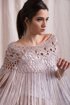Silk poncho wedding shrug silk crochet poncho silk fringed shawl bridal shrug Bridal cover up silk crochet shawl Col Crochet, Poncho Au Crochet, Crochet Cape, Crochet Poncho Patterns, Crochet Collar, Crochet Blouse, Bolero Crochet, Crochet Vests, Shawl Patterns