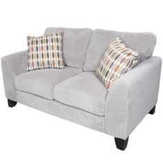 The light gray Brighton loveseat combines contemporary style with exceptional seating comfort. Covered in a super soft textured 'Bingo' pattern microfiber, it features a bright surfboard style woven pillow which pops against the base fabric.