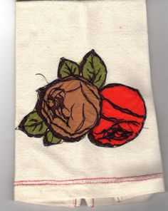 Vintage Rockabilly Retro Rose Applique Tea Towel by scarlettess