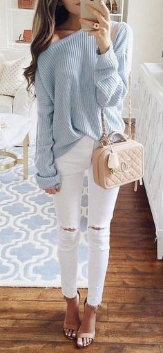 #summer #outfits Blue One Shoulder Knit + White Ripped Skinny Jeans