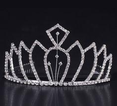 Fashion Silver Shiny Rhinestone Girl Wedding Prom Tiara Crown Headband