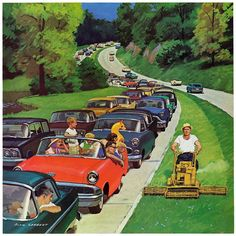 Marmont Hill Speeder on the Median Richard Sargent Painting Print on Canvas 48 x 48 Home Decor Wall Decor Canvas Art