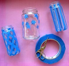 Use tape on jars and spray paint to create a pattern