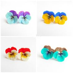 Pansies flower stud earrings Flower jewelry Violet aqua blue Navy blue yellow Red white Brown turquoise Christmas gift Floral gift for mom