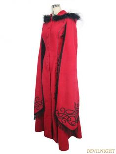 Red Gothic Long Hooded Cape Coat For Women