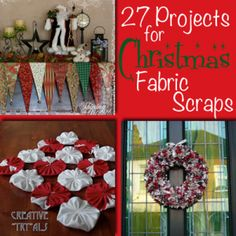 Crafters share 27 ideas to use up Christmas fabric scraps - lots of fun ideas for gifts and projects at Craftaholics Anonymous