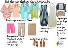 basic travel - hot weather weekend capsule wardrobe - just add a layering tank for cooler evenings