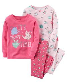4T Note: To help keep children safe, cotton pjs should always fit snugly. In coordinating prints, this 4-piece set includes two tops and two pants that can be mixed and matched for a variety of comfy bedtime options!