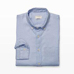 Slim-Fit Dot Linen Shirt - Print Casual Shirts at Club Monaco