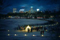 Luminary Loppet event - Lake of The Isles, Minneapolis, MN