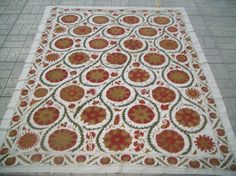 silk on cotton suzani cover by nazarhometextiles on Etsy