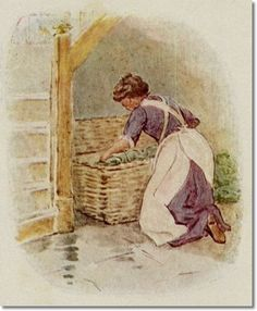 Beatrix Potter - The Tale of Johnny Town-Mouse - 1918 - The Cook Opened the Hamper and Began to Unpack the Vegetables Painting