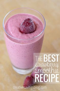 Your smoothie search is finally over! This unique recipe uses Greek yogurt and frozen orange juice to make it the best strawberry smoothie recipe EVER. Perfect as a Summer treat on a hot day!