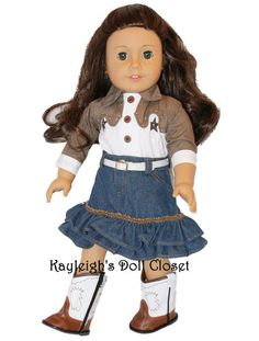 """Complete Cowgirl Outfit Top Skirt Belt Boots for American Girl 18"""" Dolls 