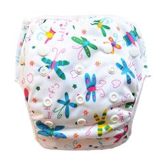 - Eco-Friendly, cost effective reusable swim diapers - Easily adjustable design that will fit children 6 to 35 pounds. Snaps are smartly placed around the waist and along the front. This allows for a