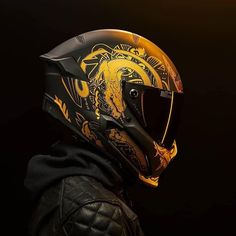 "- Helmet Designs - What do you think? That's the ""Ronin"" helmet! That's the ""Ronin"" helmet! Icon Helmets, Agv Helmets, Biker Helmets, Motorcycle Helmet Design, Motorcycle Gear, Shark Helmets, Cb 1000, Iron Man Helmet, Viking Helmet"