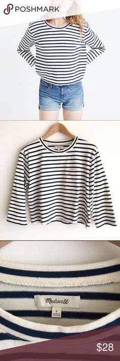 Madewell Long Sleeve Crop Tee in Linden Stripe White and navy blue striped, 100% cotton boxy tee in a low-key cropped length.  Small chest pocket.  EUC Madewell Tops Tees - Long Sleeve